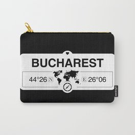 Bucharest Romania with World Map GPS Coordinates Carry-All Pouch