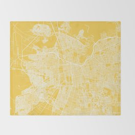 Santiago map yellow Throw Blanket