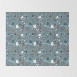 Blue Science and Math Icons Throw Blanket