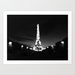 eiffel black and white blur Art Print