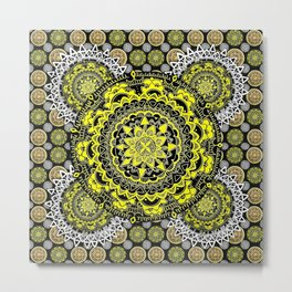 Silver, Gold, and Black Patterned Mandalas Metal Print