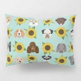 Dogs and cats pet friendly sunflowers animal lover gifts dog breeds cat person Pillow Sham
