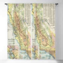 Vintage California Temperature and Climate Map (1914) Blackout Curtain