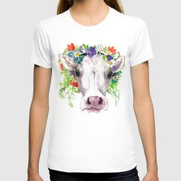 Cow and Flowers, Cow head floral Farm cattle head famr animals T-shirt