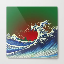 Japanese Waves and Sunset Metal Print