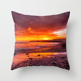 Beautiful Red Sunset Over Beach Landscape - Nature Photography Throw Pillow