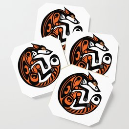 Fomline fox - circular coloured Coaster