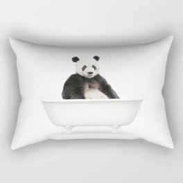 Panda in a Vintage Bathtub (c) Rectangular Pillow