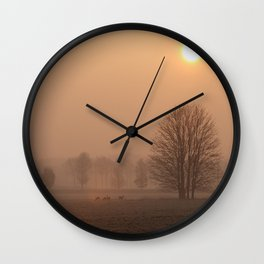 Early morning in a clearing Wall Clock