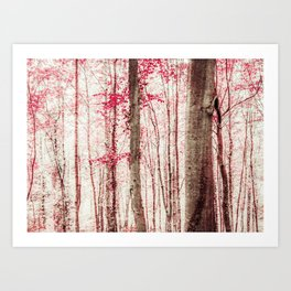 Pink and Brown Fantasy Forest Art Print