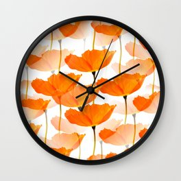 Orange Poppies On A White Background #decor #society6 #buyart Wall Clock