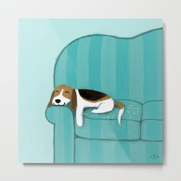 Happy Couch Beagle Metal Print