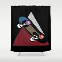 skate Shower Curtains featuring Skate by Keagraphics