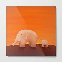 Elephants - Cartoon Metal Print