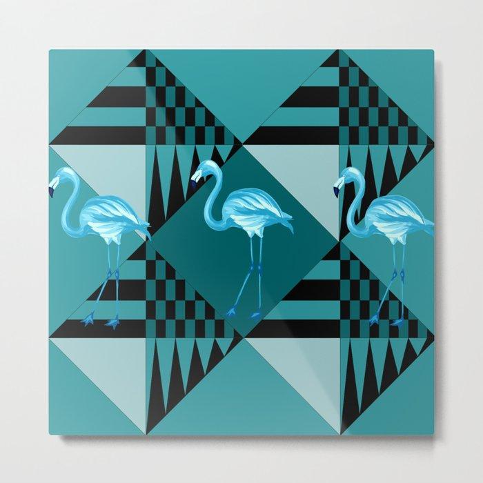 flamingo in blue Metal Print
