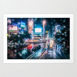 Rainy Night at Shibuyacrossing - throught the window Art Print