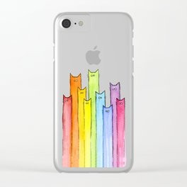 Cat Rainbow Watercolor Pattern Clear iPhone Case