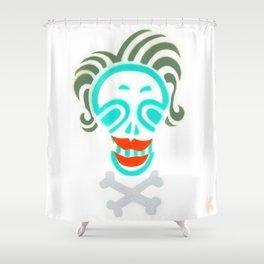 Skull_Happy Crazy Hair Lady Shower Curtain