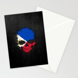 Flag of Philippines on a Chaotic Splatter Skull Stationery Cards