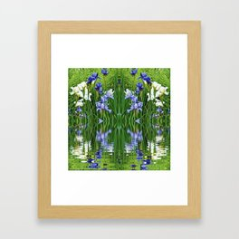 PURPLE IRIS WATER GARDEN  REFLECTION Framed Art Print