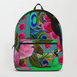 GREEN PEACOCK &  PINK ROSES MODERN GREEN ART Backpack
