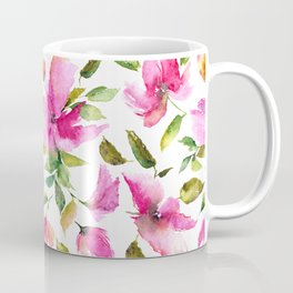 Pink flowers. Watercolor lovely florals. Coffee Mug