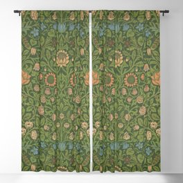 Violet and Columbine by William Morris 1883 Antique Vintage Pattern CC0 Spring Summer Blackout Curtain