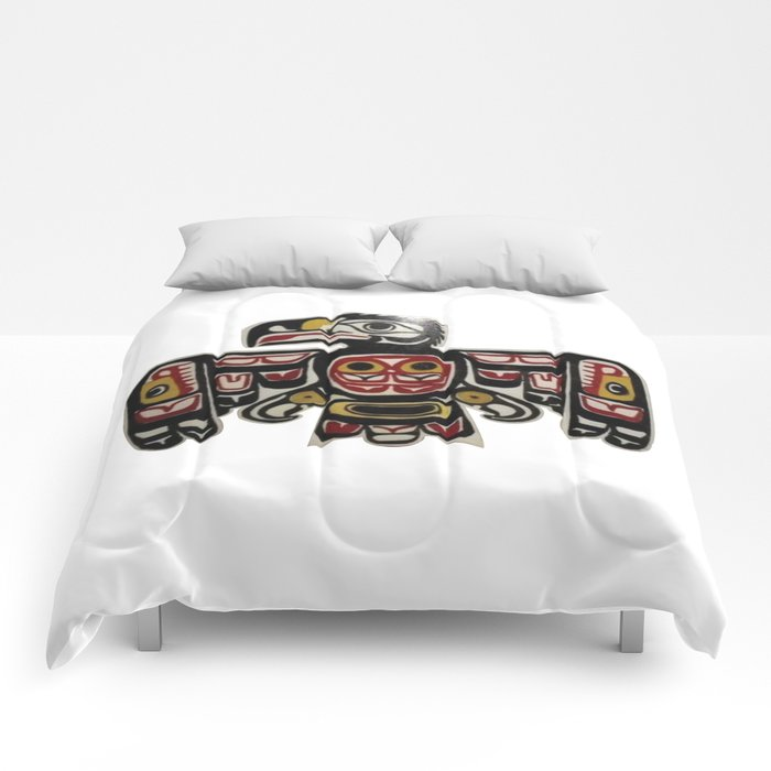 Northwest Pasific American Native Totem Cut In Wood No. 6 Comforters