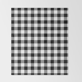 90's Buffalo Check Plaid in Black and White Throw Blanket