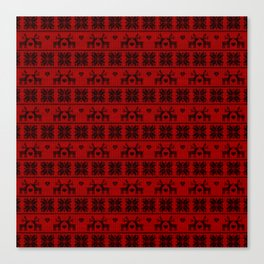 Antiallergenic Hand Knitted Red Winter Wool Pattern - Mix & Match with Simplicty of life Canvas Print