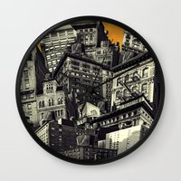 cityscape Wall Clocks featuring Cityscape by Chris Lord