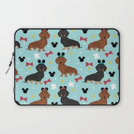 Dachshund theme park dog - black and tan and red doxies Laptop Sleeve