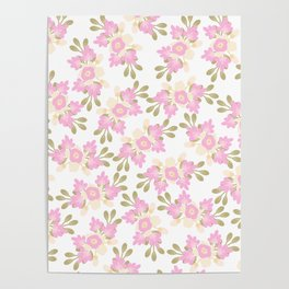 Pink coral green hand painted floral illustration Poster
