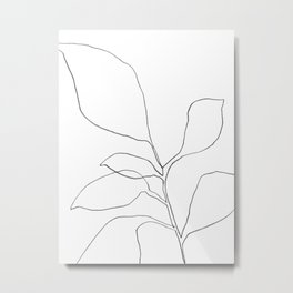 Minimalist Botanical Line Drawing - Six Leaf Plant Metal Print