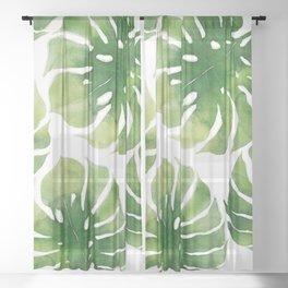 Monstera watercolor I Sheer Curtain