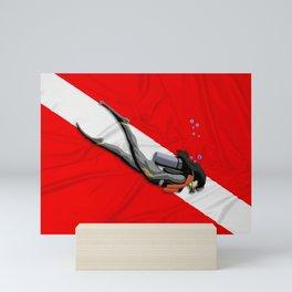 Diver And Dive Flag Mini Art Print