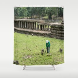 Trimming Grass With a Machete, Angkor Thom, Siem Reap, Cambodia Shower Curtain