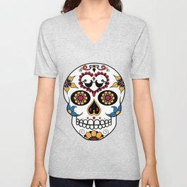 Mexican Sugar Skull Unisex V-Neck