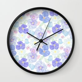Seamless floral pattern with viola and daisy. Endless texture Wall Clock