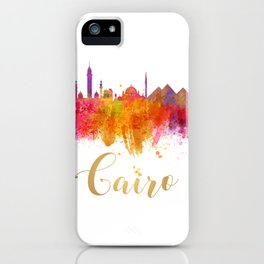 Cairo Skyline Egypt Watercolor cityscape iPhone Case