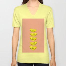 Lemon Slices Pink Unisex V-Neck