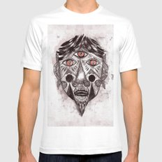Mask MEDIUM Mens Fitted Tee White