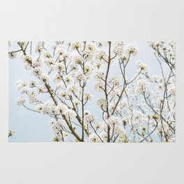 Flowering Springtime Hawthorn tree. Rug