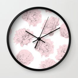 Simply Roses in Pink Flamingo Pink on White Wall Clock