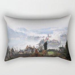 Lake Bled in the Mist Rectangular Pillow