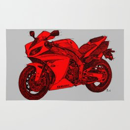 Red Motorcycle handmade drawing, great gift for men, man cave decoration Rug