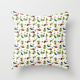 Christmas pattern ornament sumie ink watercolor painting Throw Pillow