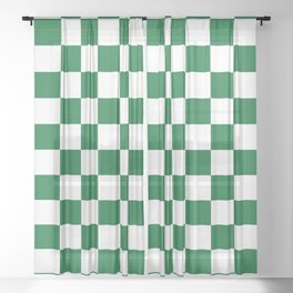 Checkered (Dark Green & White Pattern) Sheer Curtain