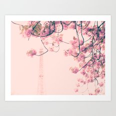 Parris in pink, Eiffel Tower and Cherrie Blossoms Art Print