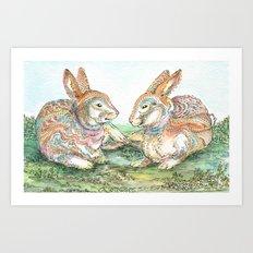 Resting Rabbits Art Print